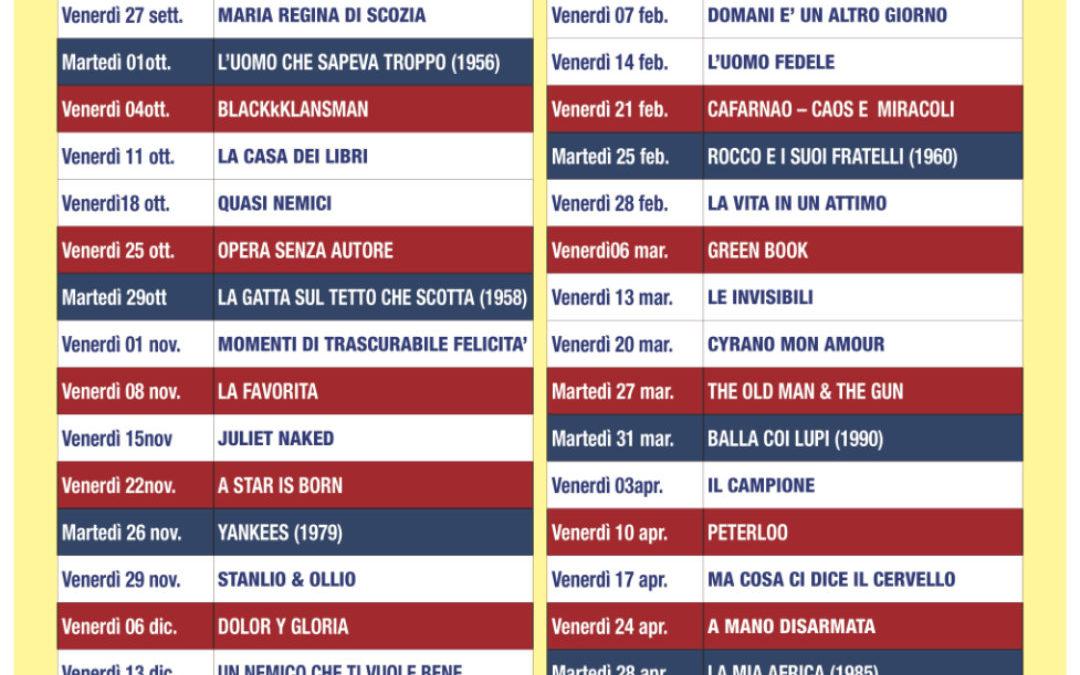 Programma Cineclub stagione 2019/2020